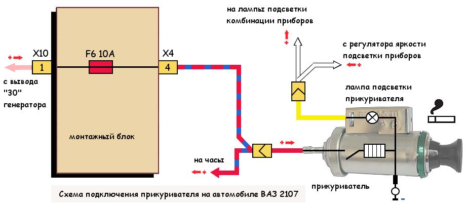 Прикуриватель ВАЗ 2107 (2105, 2104), схема подключения
