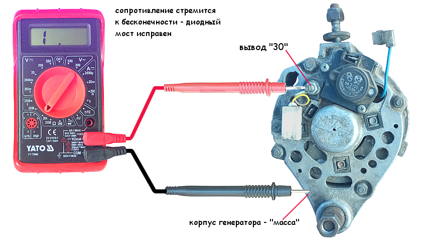 Проверка диодного моста генератора Нива 21213