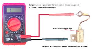 Проверка конденсатора генератора автомобилей ВАЗ 2108, 2109, 21099