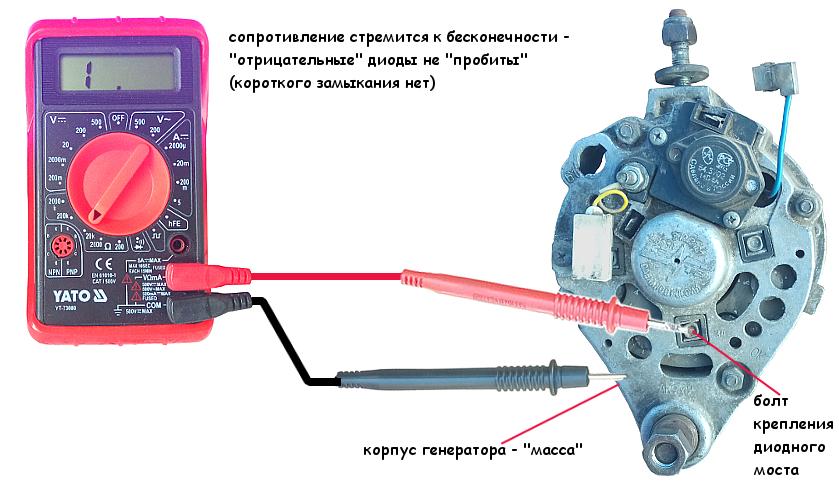"""Проверка """"отрицательных"""" диодов генератора Нива 21213"""