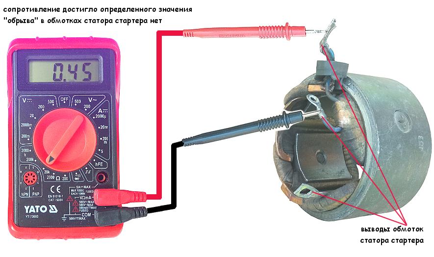 """Проверка обмоток статора стартера на """"обрыв"""""""
