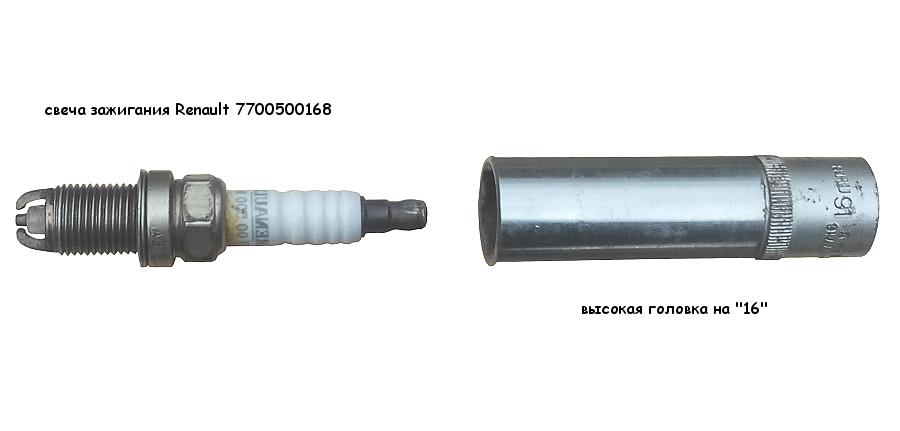 Свеча зажигания Renault 7700500168 и свечной ключ