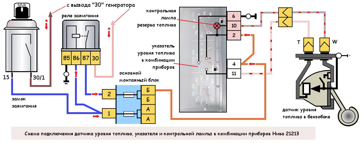 Схема подключения датчика уровня топлива Нива 21213