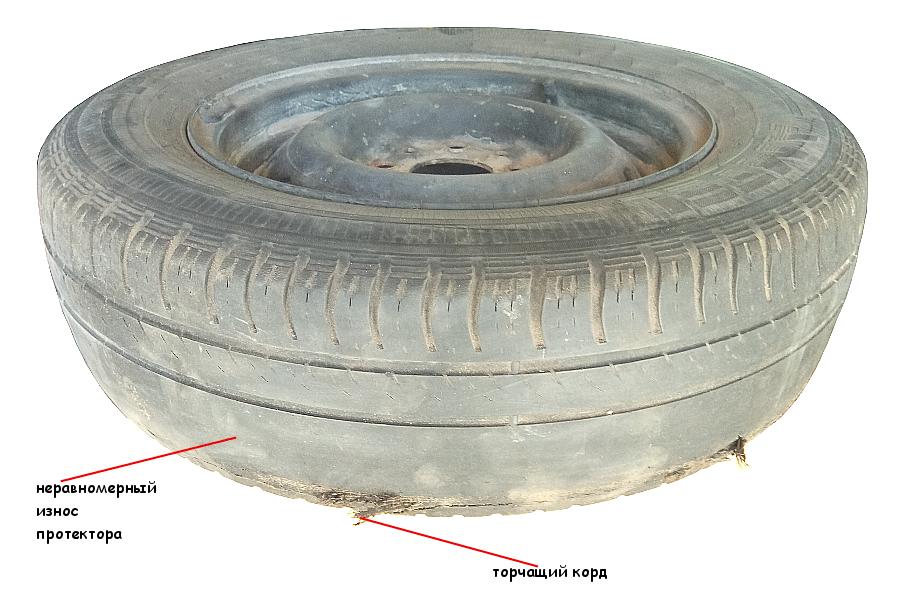 Износ протектора шины и торчащий корд