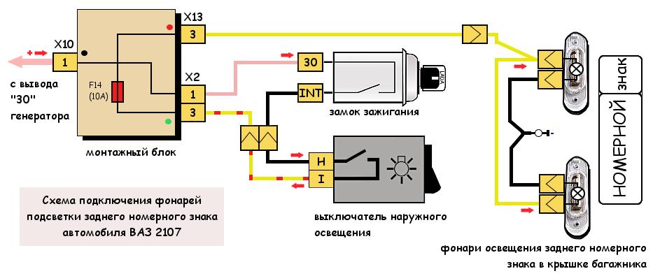 Схема подсветки заднего номера ВАЗ 2107