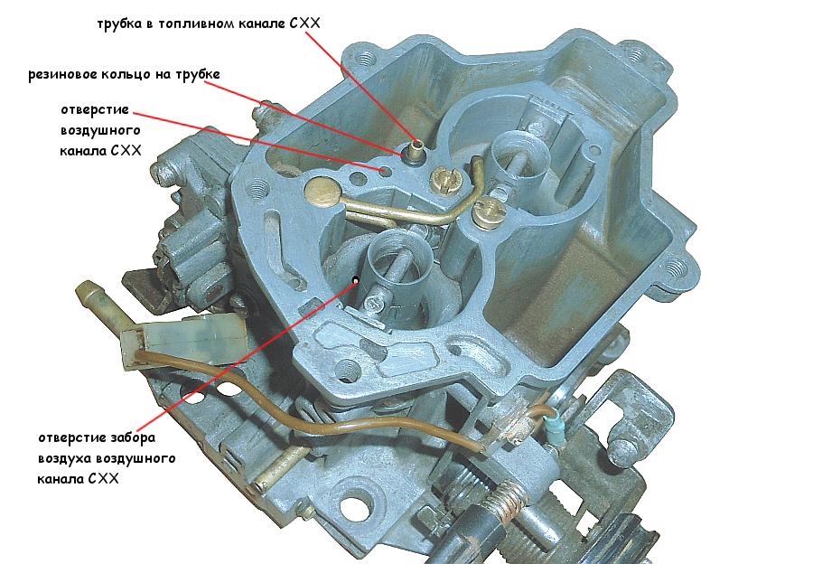 Продуваем отверстия нижней части воздушного и топливного каналов СХХ