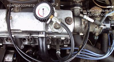 подсоединяем компрессометр