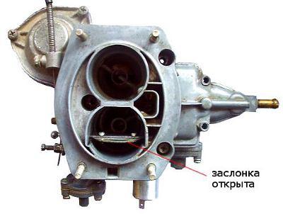 воздушная заслонка карбюратора 2105, 2107 Озон открыта