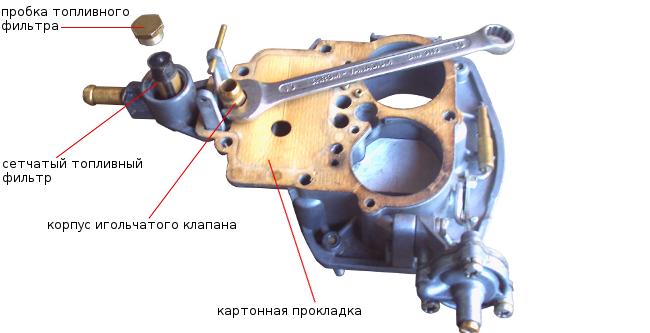 снятие корпуса игольчатого клапана, прокладки. топливного фильтра 2105, 2107 Озон
