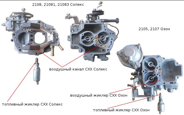 воздушный и топливный жиклеры СХХ