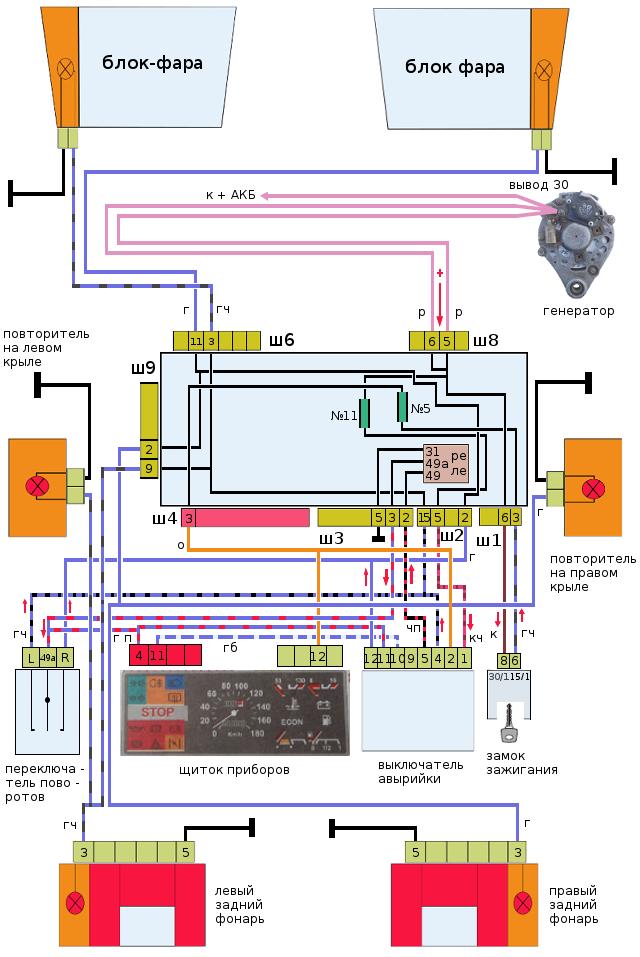 схема указателей поворота ВАЗ