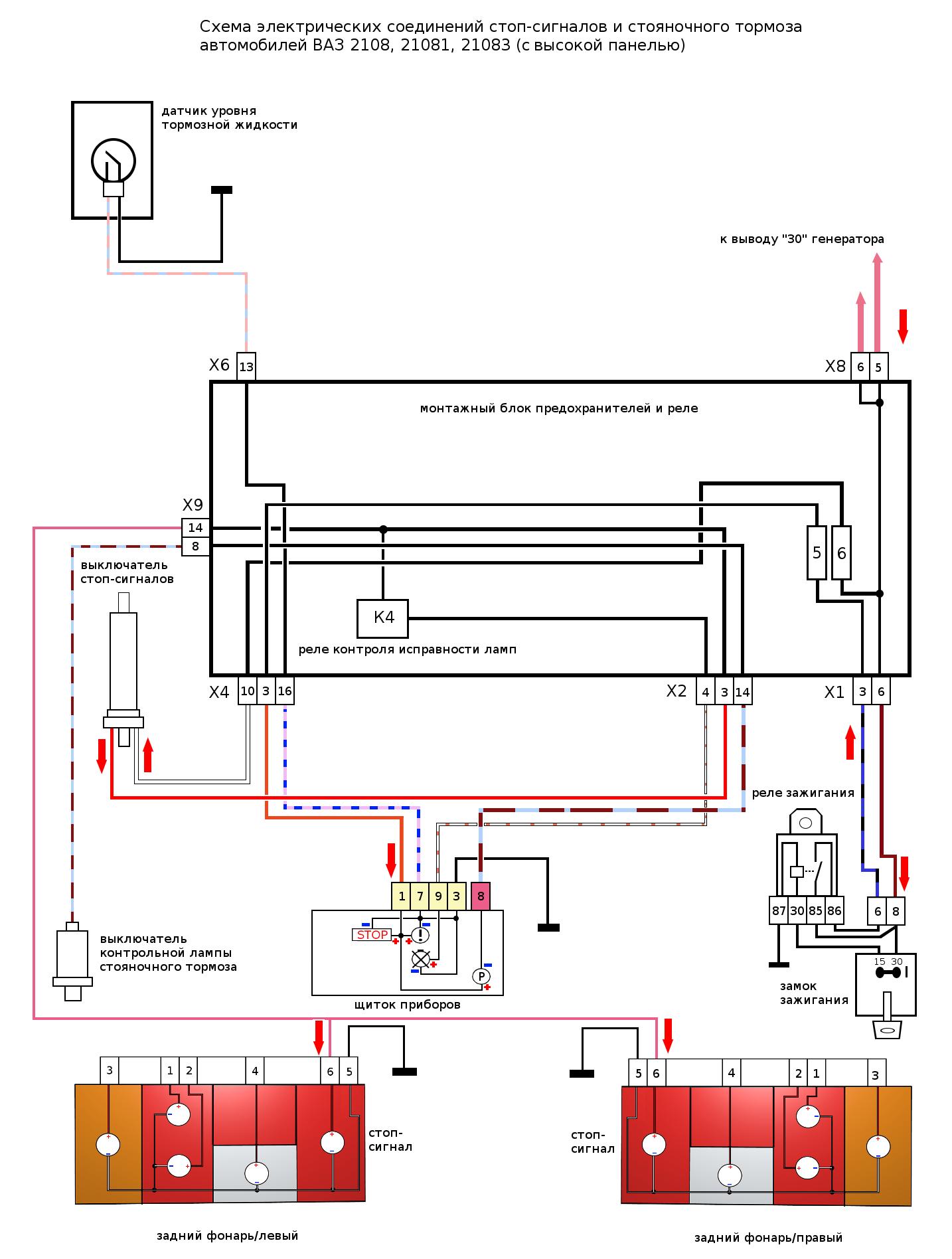 Электрическая схема габаритов 2109