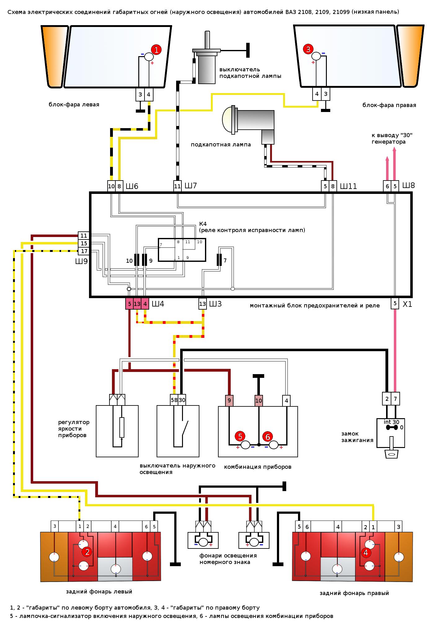 схема высокой панели приборов на ваз 2109i