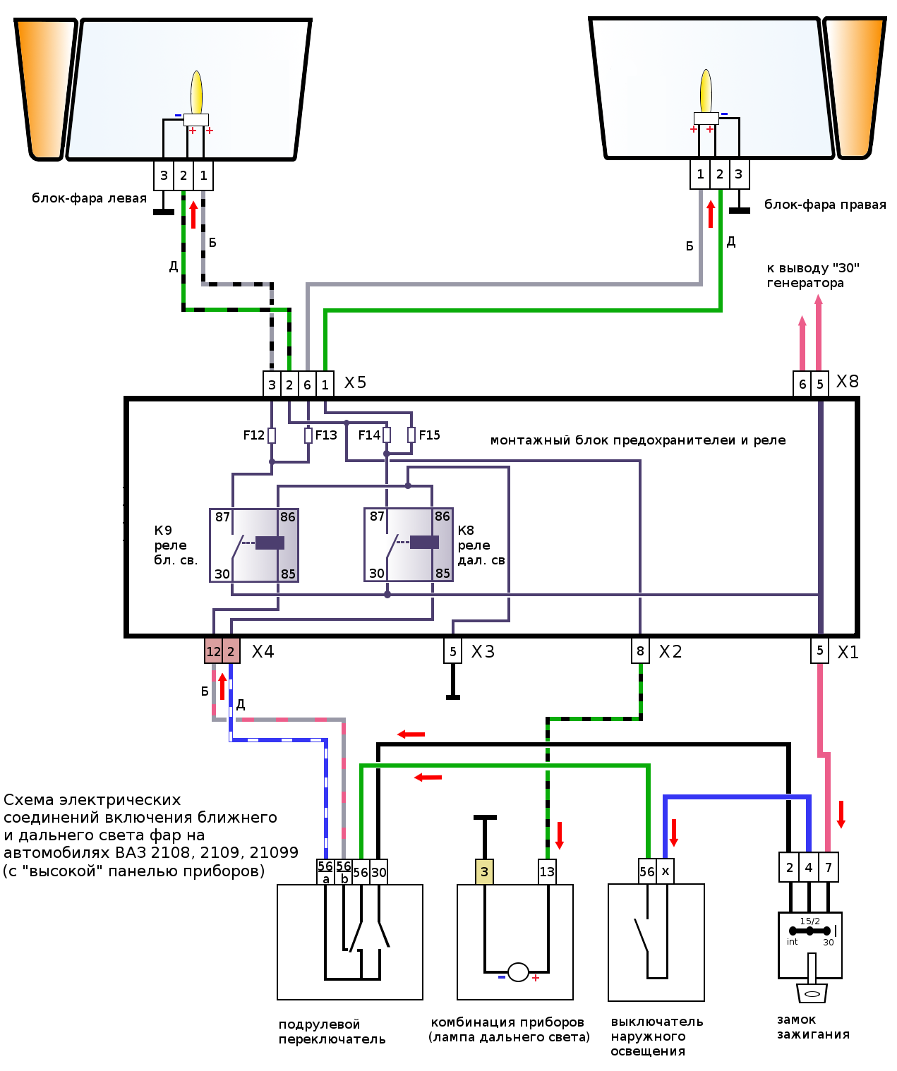 Ваз 2108 вентилятор радиатора схема подключения6