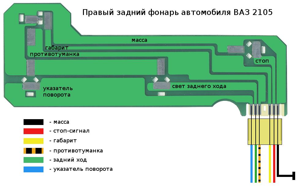 Схема проводов заднего фонаря 2105